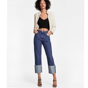 Zara Woman Folded Up Straight Malibu Jeans NWT